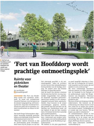 'Fort van Hoofddorp wordt prachtige ontmoetingsplek'