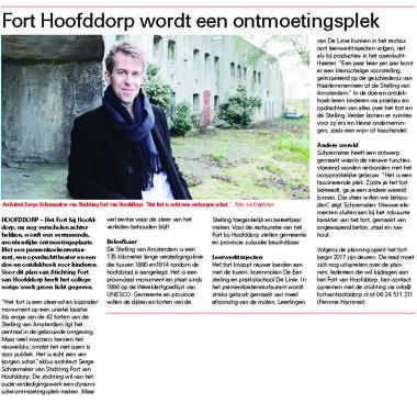 'Fort Hoofddorp wordt een ontmoetingsplek'